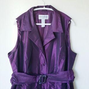 Jessica Howard Plum Taffeta Belted Shirt Dress